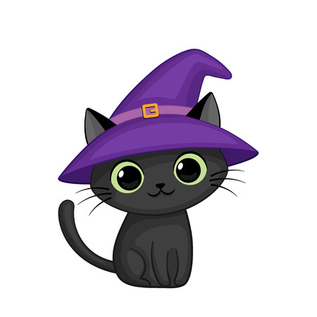 Vector cute cartoon cat in witch hat
