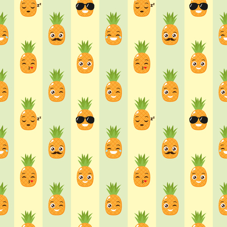 Vector seamless background with funny pineapples  イラスト・ベクター素材