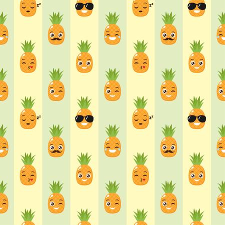 Vektor nahtloser Hintergrund mit lustigen Ananas