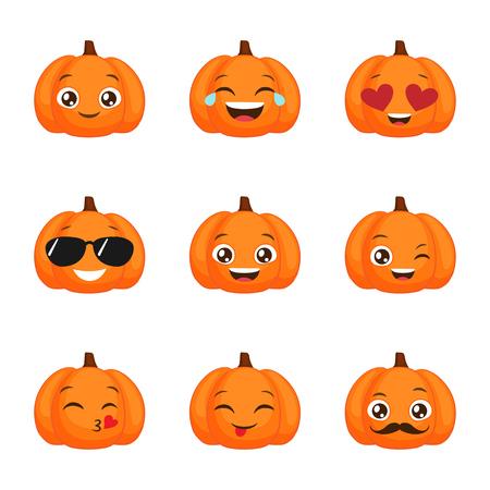 Set of funny pumpkin emoticons for autumn design. Set of halloween vector emojis