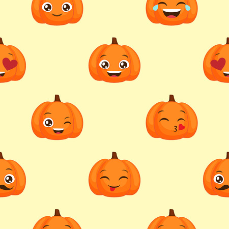 Vector seamless pattern of funny pumpkin emoticons for autumn design