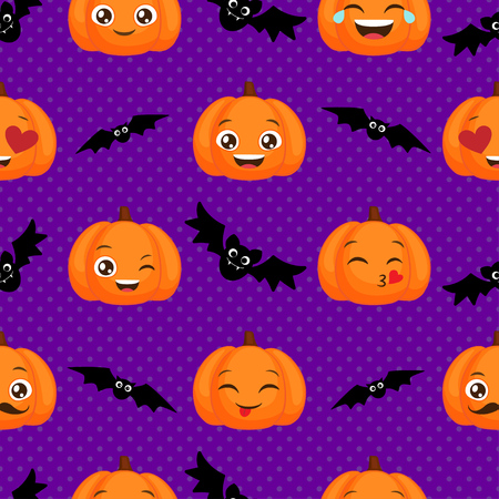 Vector Halloween seamless pattern with funny orange pumpkins and bats