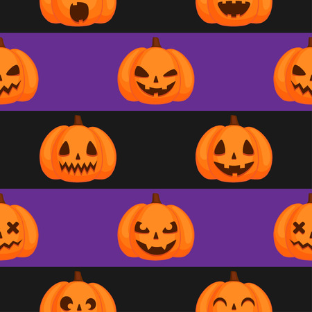 Vector Halloween seamless pattern. Orange pumpkins with funny carving faces on the striped background Ilustração