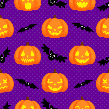 Vector Halloween seamless pattern with orange pumpkins and bats