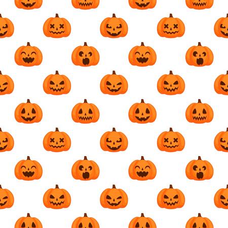 Vector Halloween seamless pattern. Orange pumpkins with funny carving faces on white background Ilustração