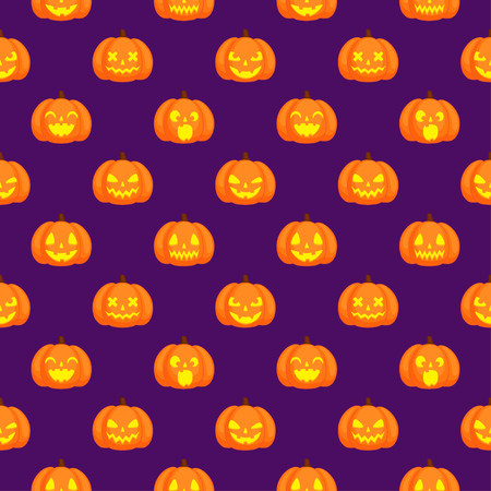 Orange pumpkins with funny carving glowing faces. Halloween seamless vector pattern