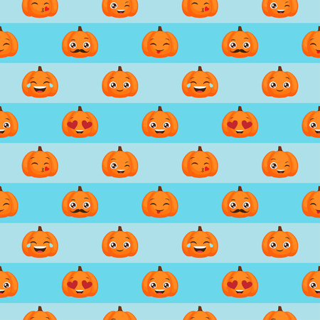 Vector seamless pattern of funny pumpkins for autumn design