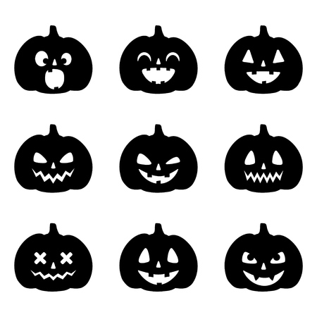 Set of pumpkin faces for Halloween on white background