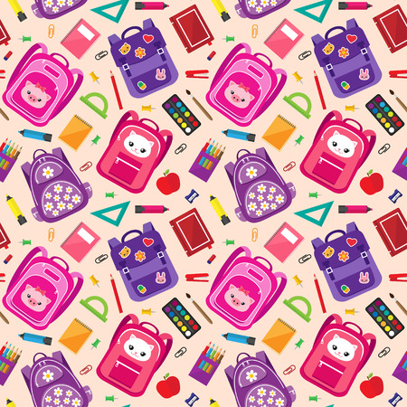 Vector seamless pattern of school supplies, schoolbags and stationery icons