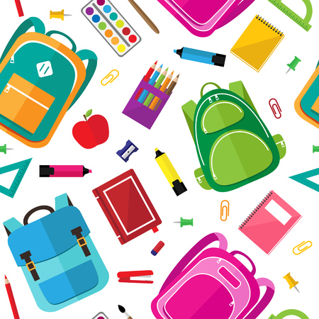 Vector seamless pattern of school supplies, schoolbags and stationery icons on dark background