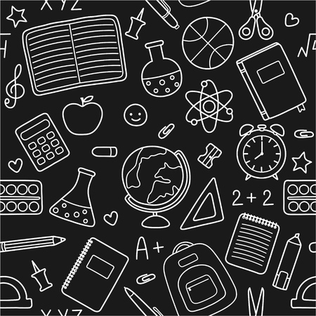 Vector black background with white silhouettes of school supplies, stationery icons and educational symbols. Seamless pattern Ilustração