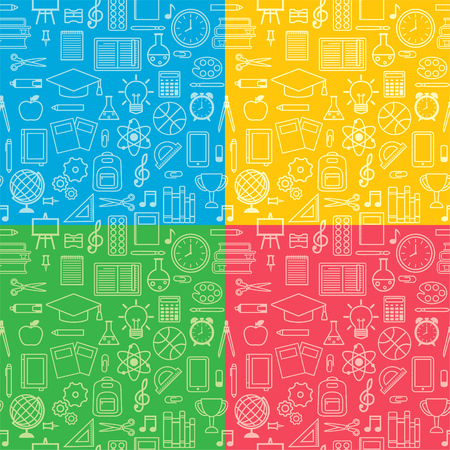 Vector seamless pattern of school supplies, education symbols and stationery silhouettes Ilustração