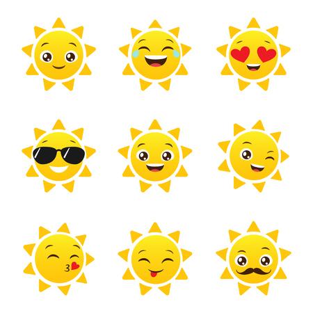 Set of funny sun emoticons for summer design. Happy sun vector emojis Ilustração