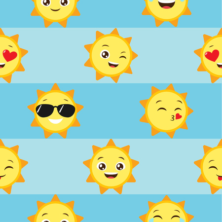 Seamless vector pattern with sun emoji