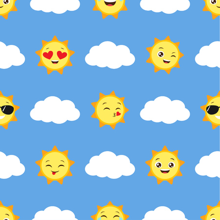Seamless vector pattern with sun emojis and clouds