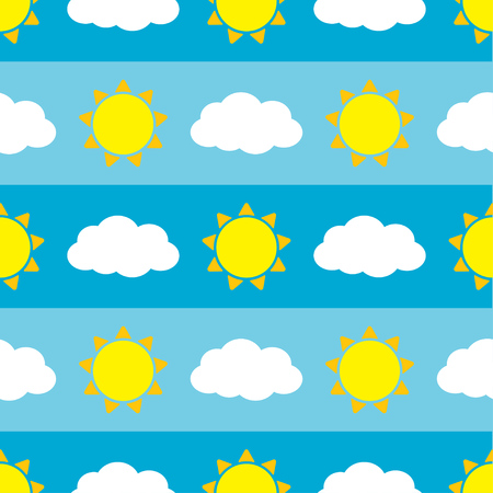 Cute seamless vector pattern with sun and clouds on blue background Ilustração