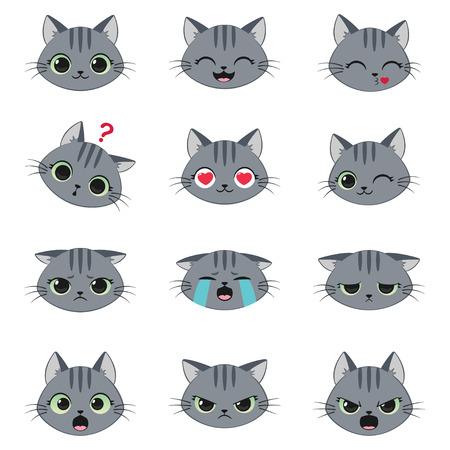 Set of cute cartoon grey cat with various emotions Ilustração