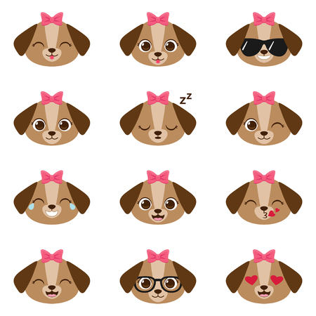 Cute cartoon girl puppy with different expressions. Vector set of female dog emojis