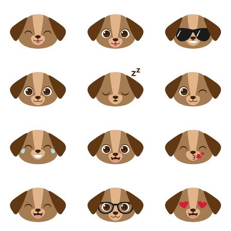 Cute cartoon puppy with different expressions. Vector set of dog emojis Ilustração