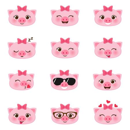 Set of cute happy cartoon little pigs emojis