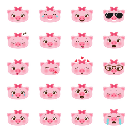 Set of cute vector cartoon little pigs emojis