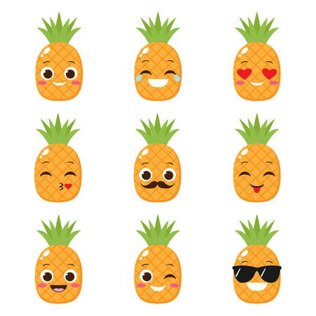 Cartoon cute pineapple with different expressions. Happy fruit vector set of emojis