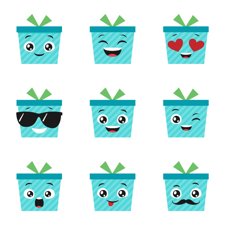 Vector set of cute and happy present boxes Çizim