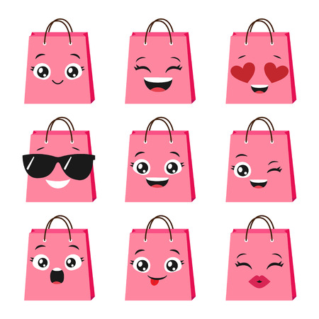 Vector set of cute and happy shopping bags