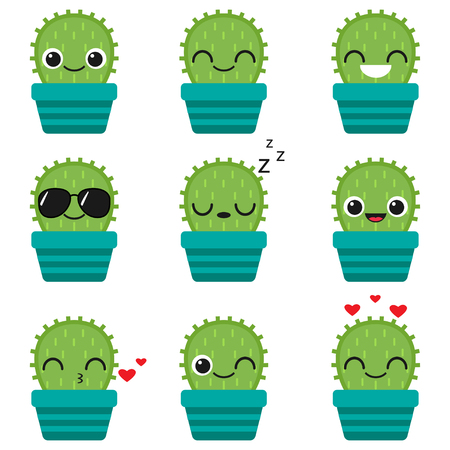Cute vector happy cactuses in blue pots on white background. Emoticons and emojis set