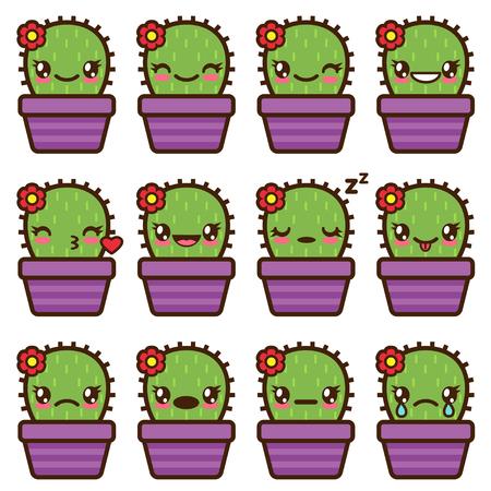 Cute vector cactus emoticons and emojis set