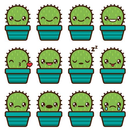 Cute vector emoticons and emojis set of cactus