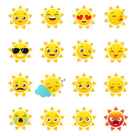 Vector sun emojis on a white background. Set of funny emoticons for summer design