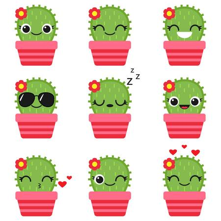 Cute vector cactus with flower in pink pot. Emoticons and emojis set Ilustrace