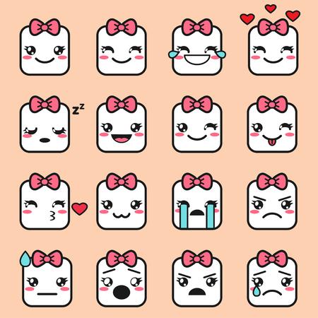 Vector set of cute square kawaii emojis