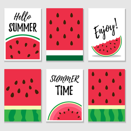 Set of summer cards with watermelon textures and slices. Vector template