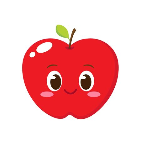 Cute happy apple character. Funny emoticon in flat style. Fruit emoji vector illustration