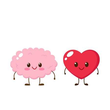 Cute happy brain and heart character. Funny emoticon in flat style. Mind and passion emoji vector illustration