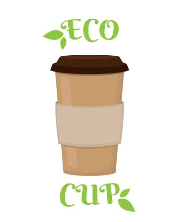 Coffee to go reusable eco cup vector. Cartoon cardboard container for take away latte, espresso, cappuccino drink. Zero waste. Reduce environmental pollution Çizim