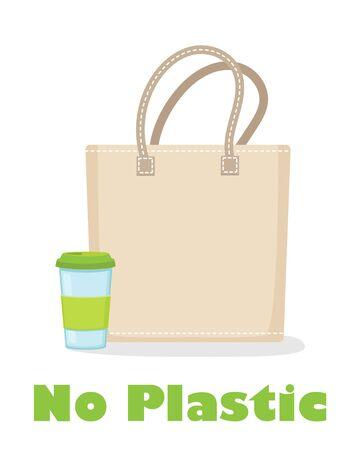 Reusable coffee cup and fabric eco bag vector illustration. No plastic ad. Eco living, zero waste. Environment friendly shopping Ilustração