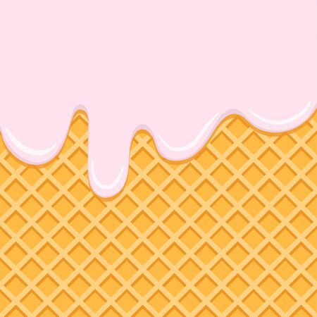 Cream flowing on waffel, vector background. Melting pink creme on wafer texture. Syrup glaze drops. Sweet dessert food