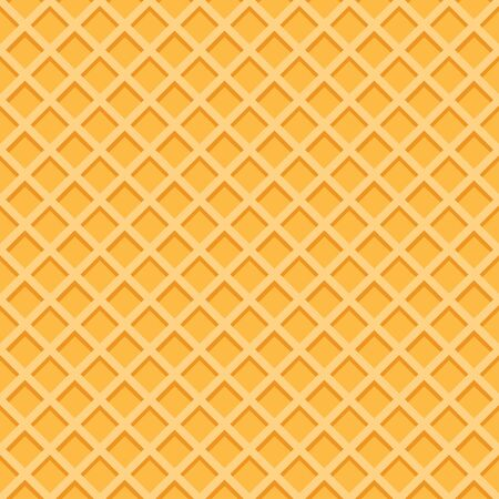 Yellow waffle seamless vector pattern. Cartoon wafer repeated background. Ice cream cone texture Vetores