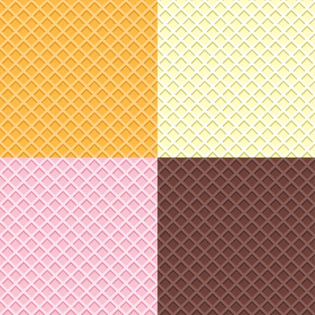 Set of different waffle seamless vector pattern. Cartoon wafer repeated background in yellow, pink, drown chocolate color. Ice cream cone texture