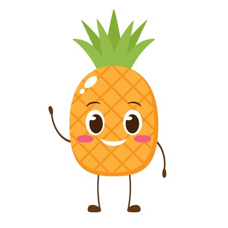 Cute happy pineapple character. Hello summer card. Funny Cartoon emoticon in flat style. Fruit emoji vector illustration