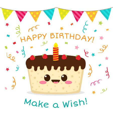Happy birthday card. Make a wish. Cute chocolate cake with strawberry and candle. Kawaii cartoon cake character vector illustration