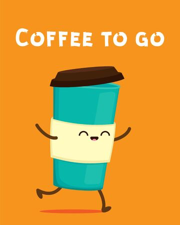 Cute cartoon cardboard coffee cup. Take away coffee. Funny coffee to go sticker. Happy eco container for beverage vector character