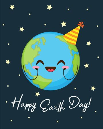 Happy Earth day greeting card. Cute planet with funny face and birthday hat in space