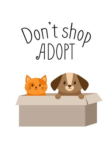 Don't shop, adopt banner. Cute homeless puppy and kitten inside a cardboard box are begging for the adoption. Cat and dog vector illustration for animal shelter poster