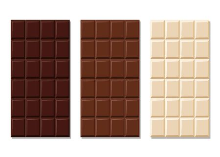Dark, milk and white chocolate bar set. Unwrapped square pieces of different chocolate. Cocoa organic product vector illustration