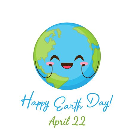 Happy Earth day greeting card. Cute planet with funny face vector illustration. 22 April holiday