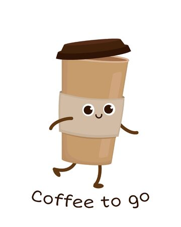 Cute cartoon cardboard coffee cup. Take away coffee. Funny coffee to go sticker. Happy eco container for beverage vector character Ilustração
